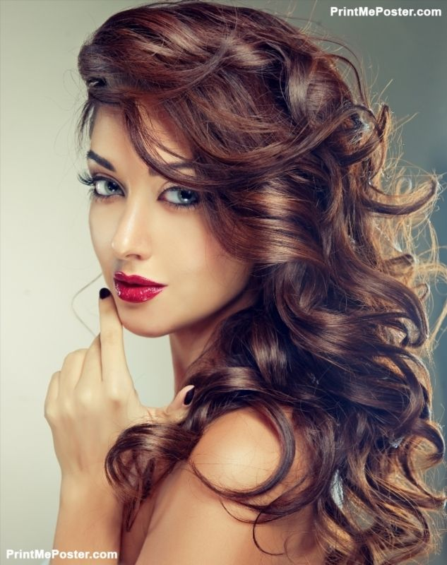 Model With Beautiful Curly Hair Poster Poster Printmeposter