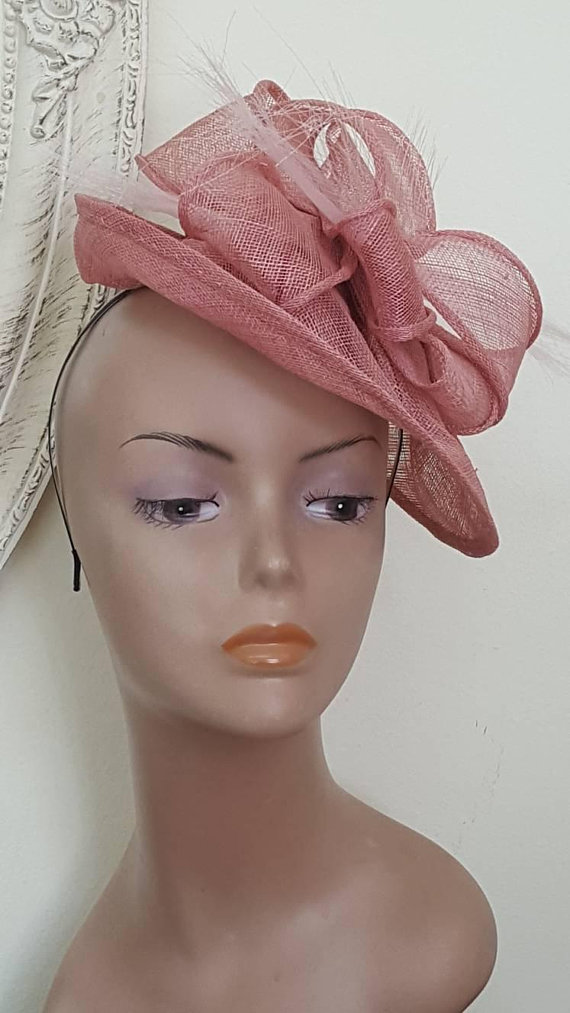 886903fd3 Kentucky derby hat, Pink fascinator hat, feather hat, Ladies hat ...