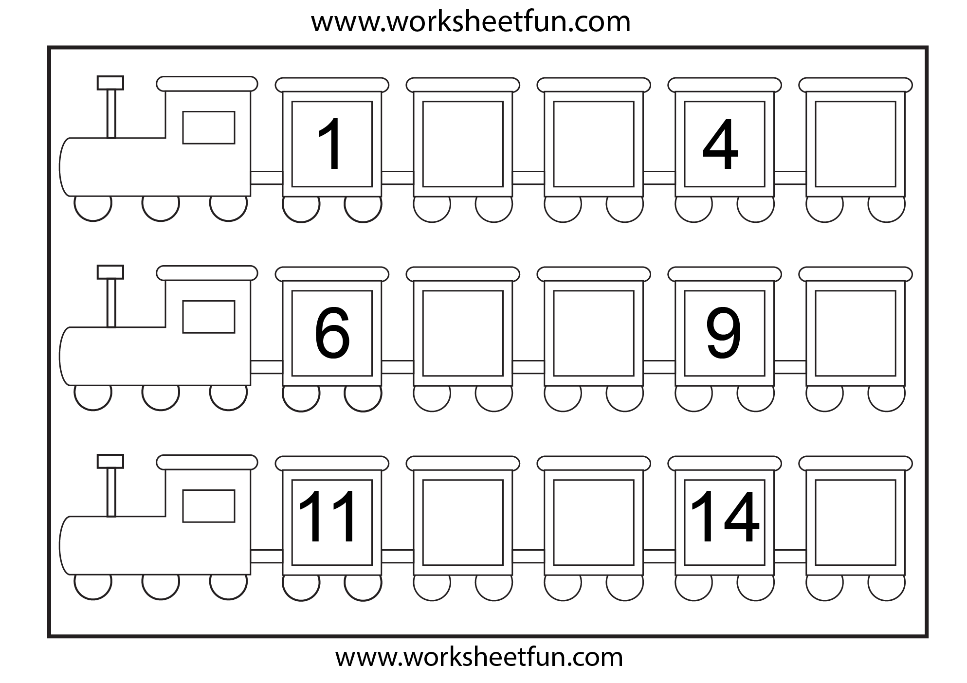 Preschool Missing Number Worksheets Number Train Missing Numbers
