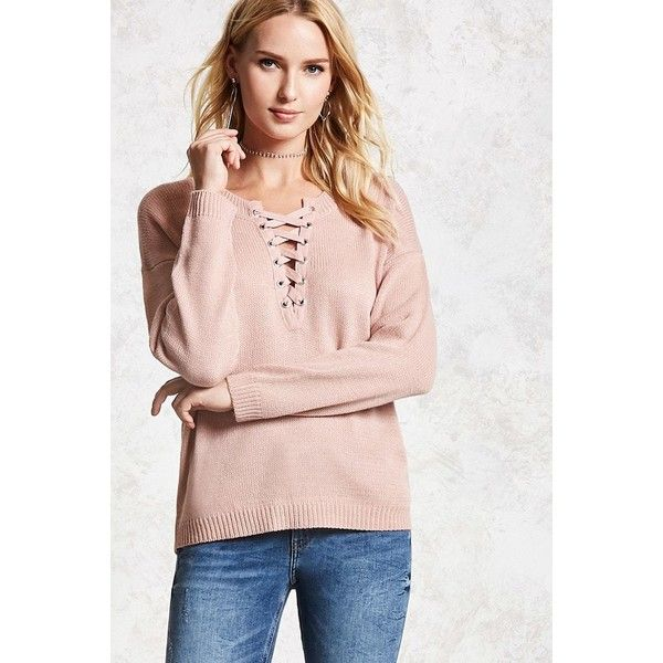 Forever21 Lace-Up Purl Sweater ( 18) ❤ liked on Polyvore featuring tops 29a51c4b3