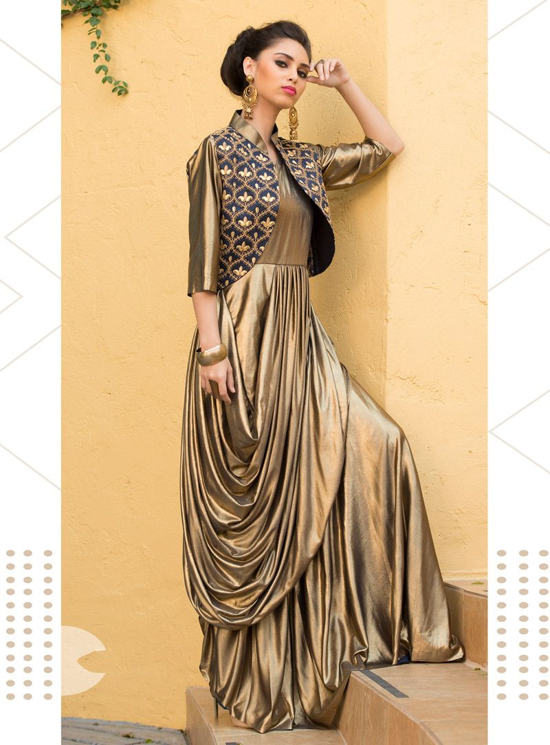 24de7b01be Shop Golden Lycra Readymade Gown 142670 online at best price from vast  collection of designer kurti at Indianclothstore.com.