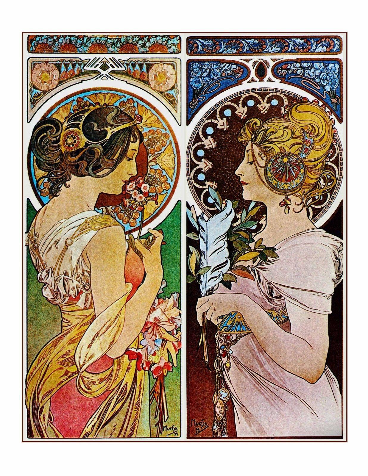 Art Nouveau Alphonse Mucha Print 2 Beautiful Woman Together Love Friends 8 10 713331228363 Ebay Art Nouveau Mucha Mucha Art Alphonse Mucha