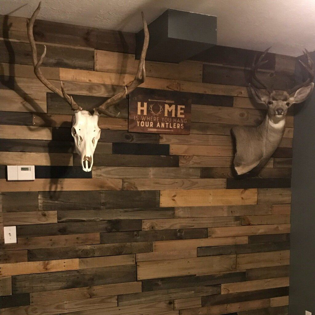 Diy Stained Wood Accent Wall: Pre-Stained Pallet Wood Accent Walls - Utah In 2019