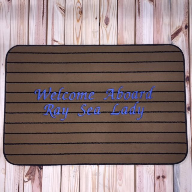 Welcome Aboard Sea Ray Lady Boarding Mat. Great boarding, dock, and deck mats made from marine-grade carpet that is mold, corrosion, and UV resistant. Salt water will not harm.