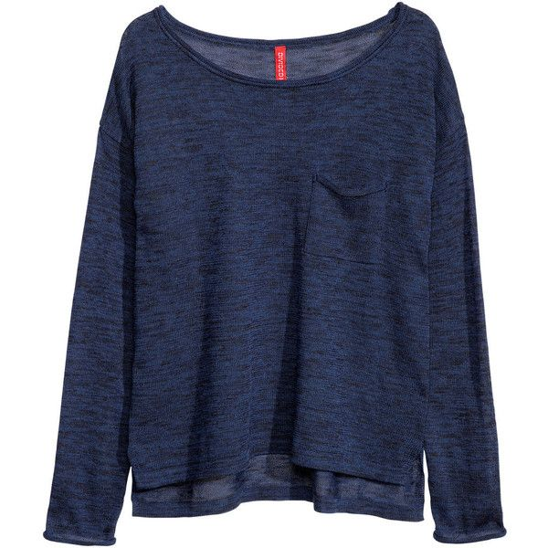 H&M Fine-knit jumper (80 ARS) ❤ liked on Polyvore featuring tops, sweaters, shirts, jumper, blue, wide neck sweater, cuff shirts, jumper shirt, fine knit sweater and shirt sweater