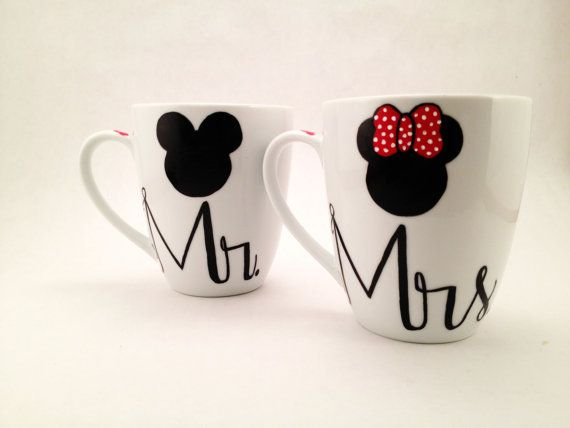 Coffee Mugs Set Of 2- Mr. And Mrs. His And Hers Mickey And