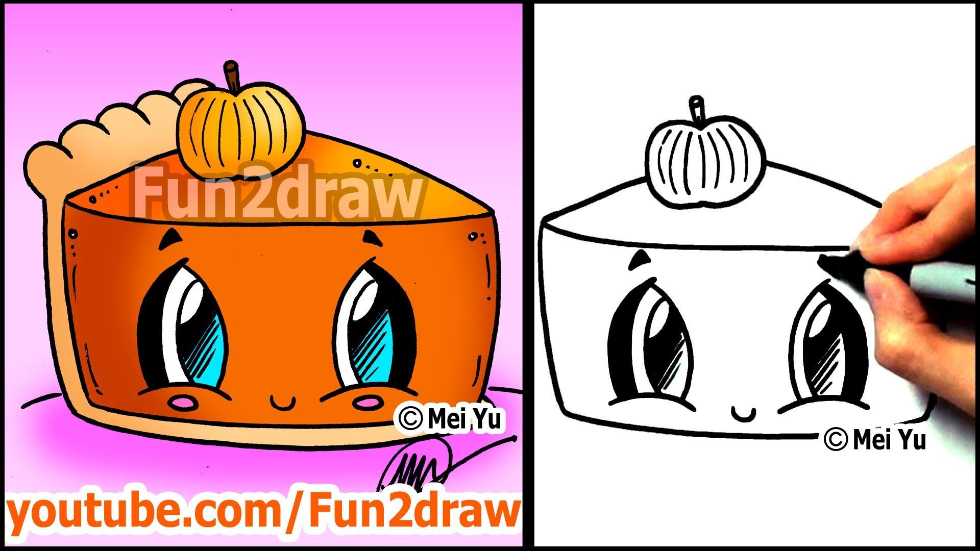 How to Draw Thanksgiving Things - Cute Pumpkin Pie - Fun2draw Food ...
