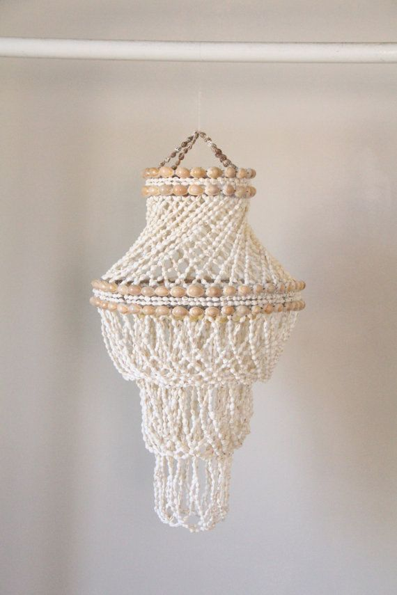 Vintage Handmade Shell Chandelier 64 Shell Chandelier Seashell Chandelier Beaded Lamps