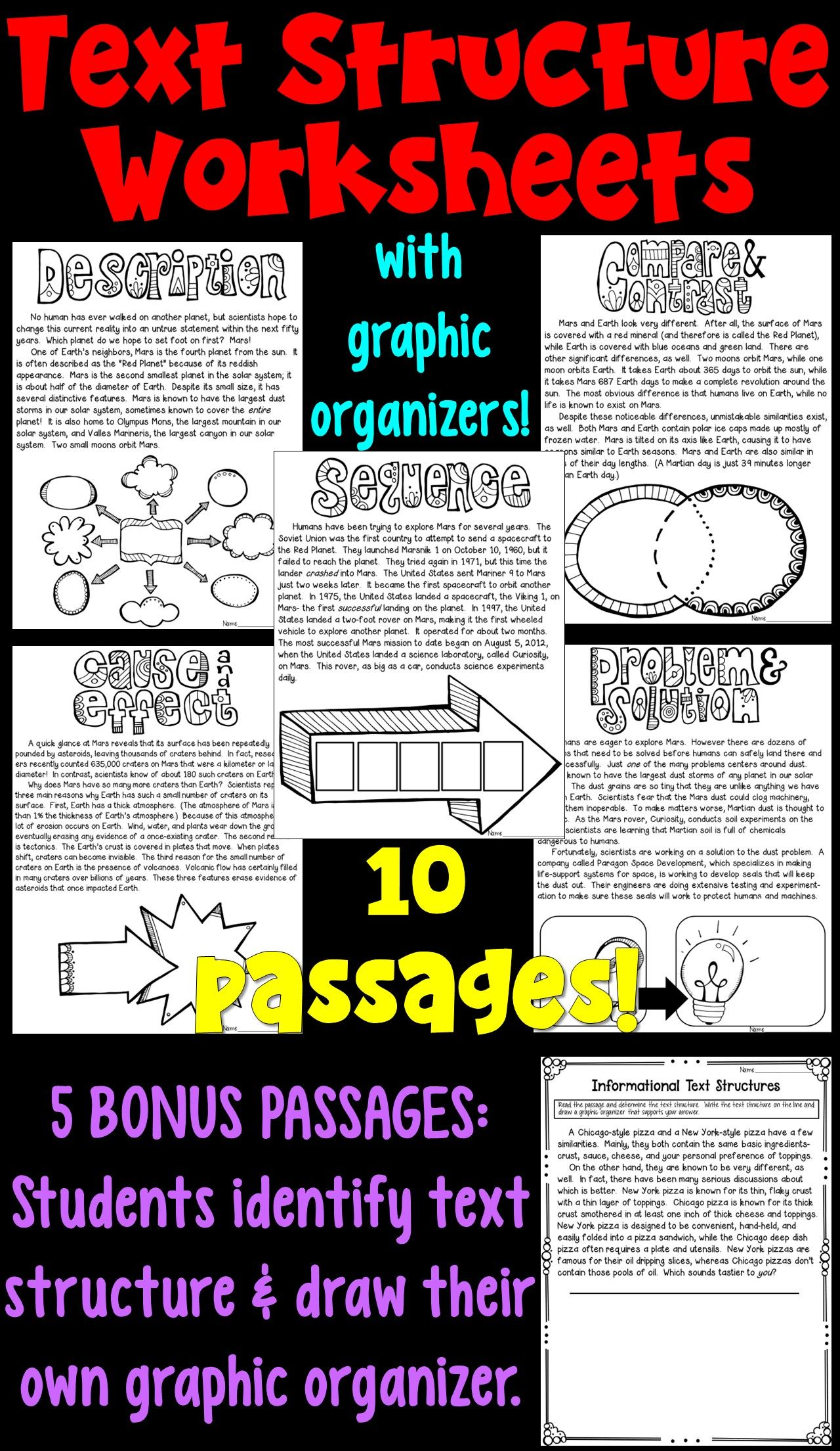 small resolution of Text Structure Worksheet Packet! These 10 worksheets focus on analyzing the  text structu…   Text structure worksheets