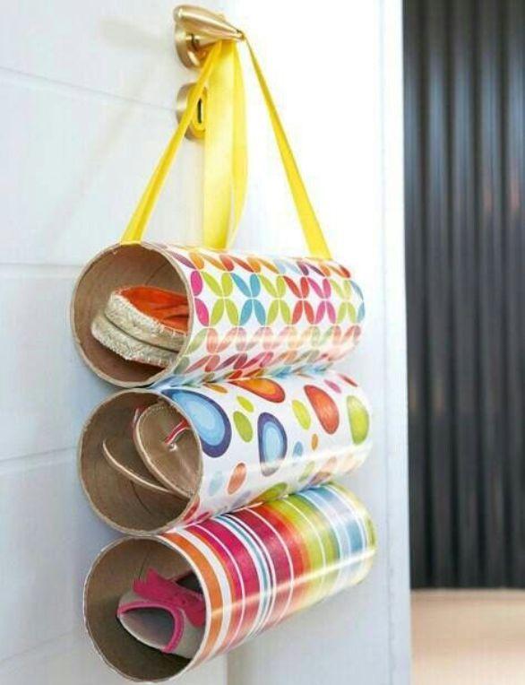 Ideas originales para hacer zapateros caseros de tela for Zapateros tela para colgar