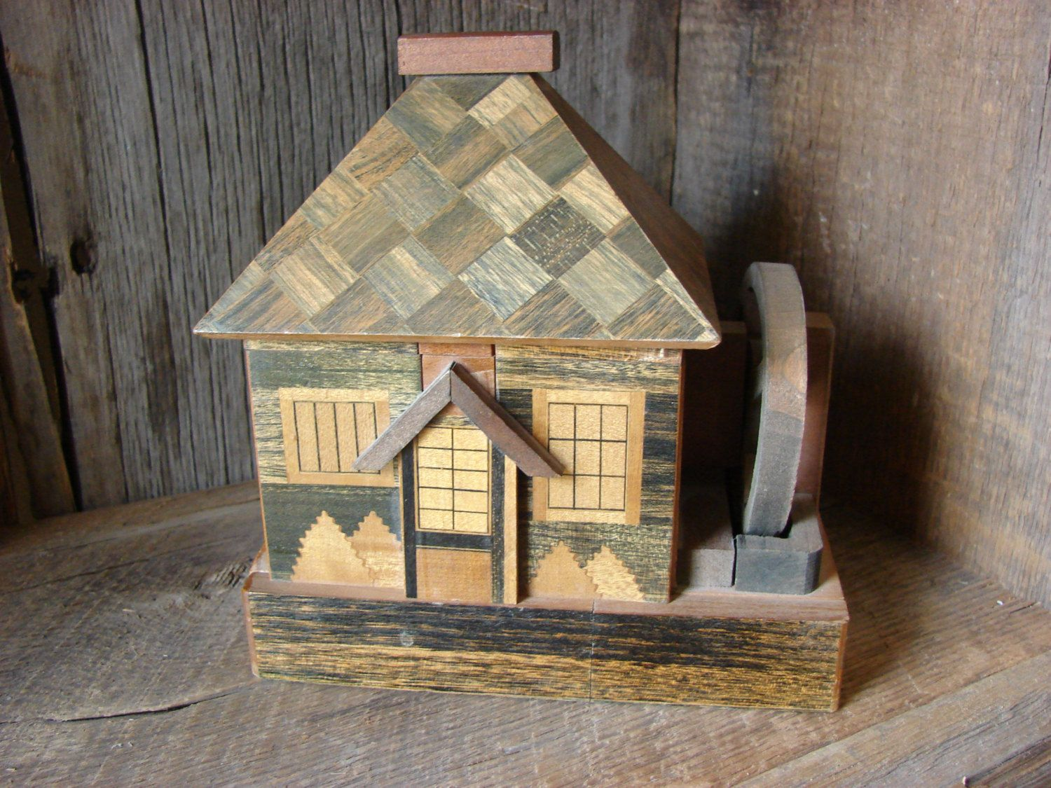 Vintage Japanese Puzzle Box Bank With Original Key 40 50 S Painted