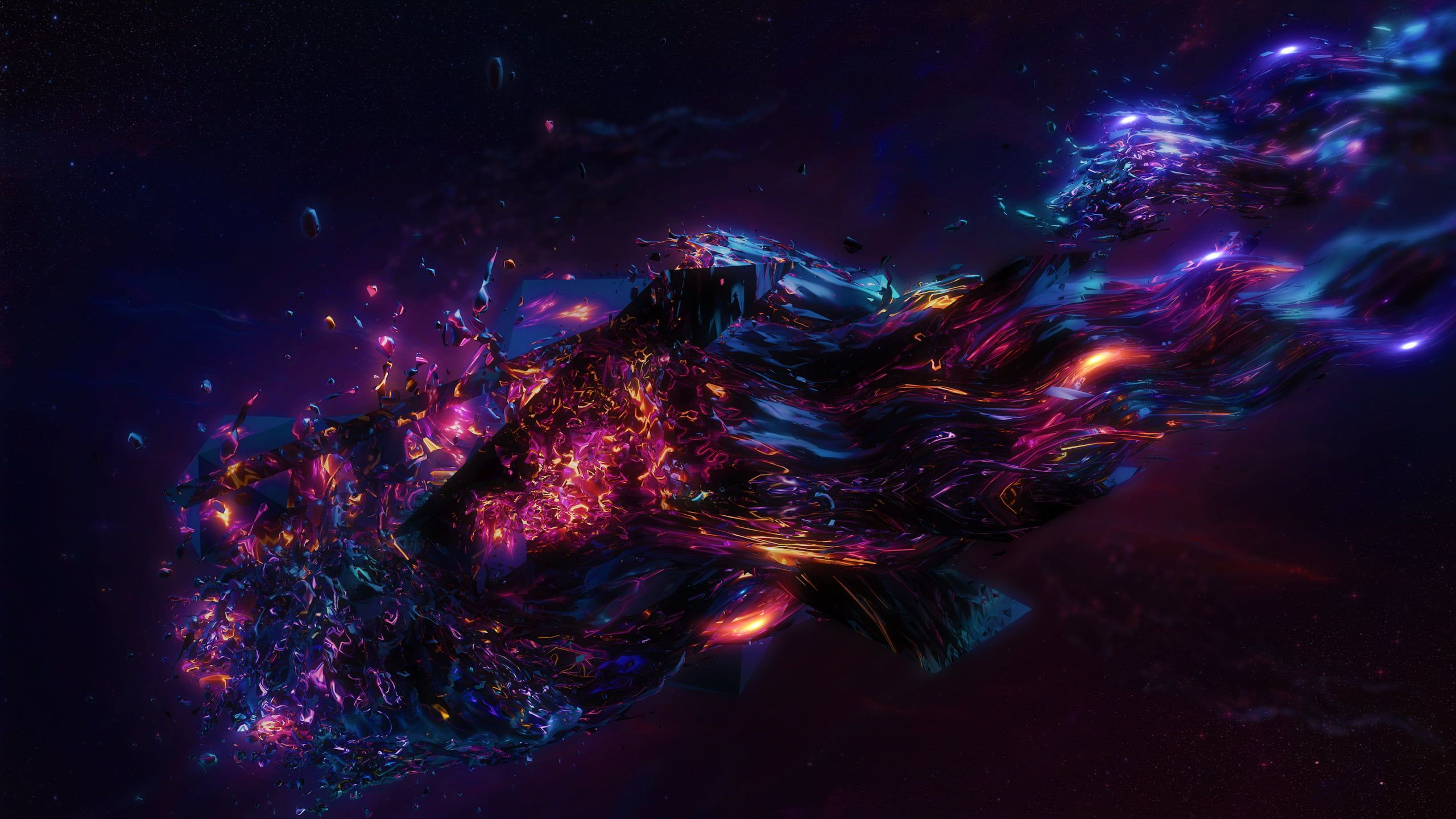 blue, purple, and orange digital wallpaper abstract 3D
