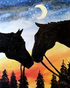 Upotettu kuva | Horse canvas painting, Easy canvas painting