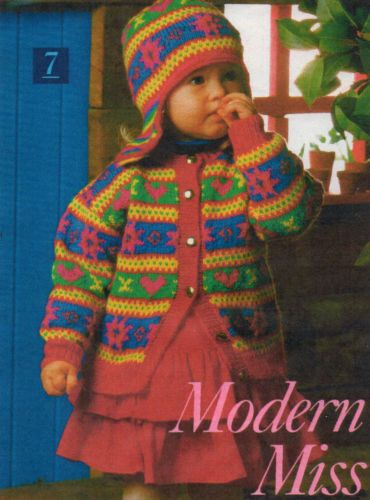 "Vintage 20-24""Ch Baby/Toddler Fair Isle Cardy & Ear flap Hat ..."