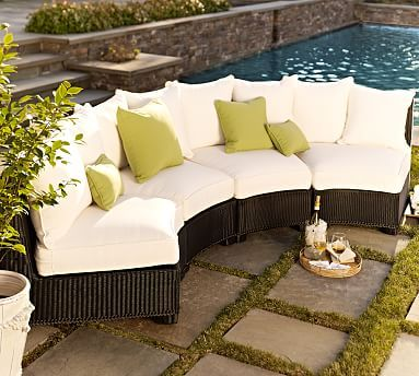 Build Your Own - Palmetto All-Weather Wicker Rounded Sectional Components - Black #potterybarn