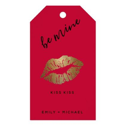 personalized valentines pink black lips kiss gold gift tags, Ideas