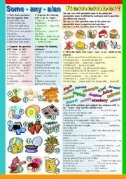 English Exercises: There is and there are with some/any/a/an   UN ...