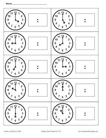 Telling Time: | maria isabel | Pinterest | First grade math, Math ...
