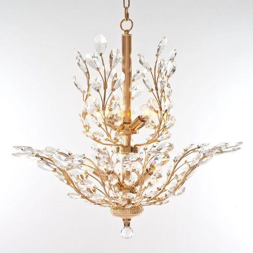 Antique Gold Chandelier > $599.00 Clear Crystals, Ten Lights - Chandelier  Top: Crystal Chandeliers - Antique Gold Chandelier > $599.00 Clear Crystals, Ten Lights
