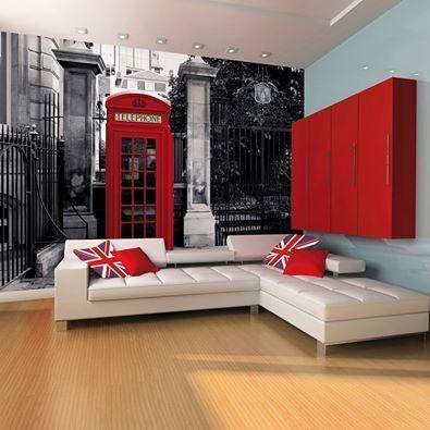 #Decoração com inspiração em #Londres, Detalhe no papel de #parede.