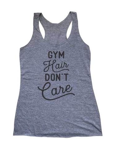 faec634f Gym Hair Don't Care - Soft Triblend Racerback Tank fitness gym yoga running  exercise birthday gift
