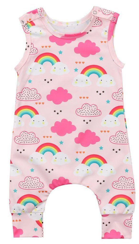 884aba8c4f20 Rainbow Cloud Baby Girl Summer Romper