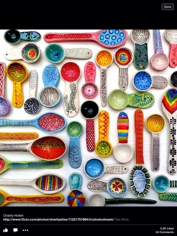 Colorful Spoons: Colorful Ceramics, Ceramic Spoons, Pottery
