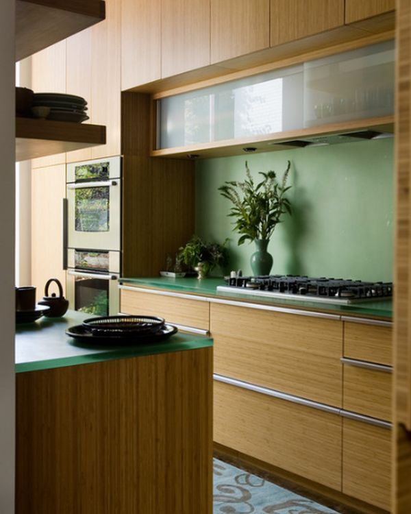 Best Glass Cabinets Set In A Largely Bamboo Dominated Kitchen 400 x 300