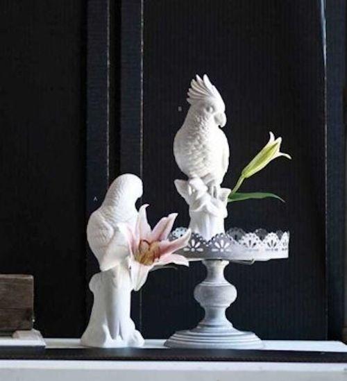 Bird Bud Vases in white ceramic are Parrot & Cockatoo birds perched