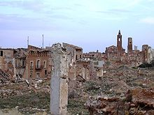 Ghost hamlet of Belchite, Spain - deserted as of 1964. Left in ruins after the Spanish Civil War as a memorial to the Battle of Belchite. What a beautiful church that must have been on the hill there...