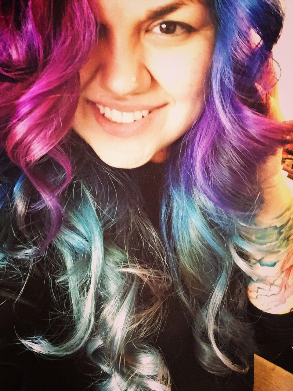 Purple, pink, blue to grey. Before my long Mohawk. #ferocitymakeup