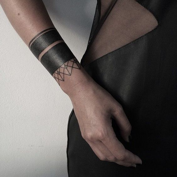 You Can See Two Thick Black Parallel Lines Wrapping Completely Around Right Forearm One Line On The Top Is Line Tattoos Arm Band Tattoo Wrist Tattoo Cover Up