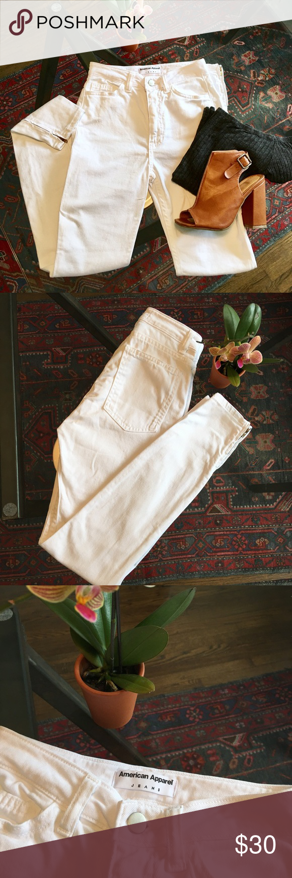 White Super Skinny American Apparel Jeans NWOT Never worn super skinny with zipper detail on the side of bottom hem! These are a Sz 25 but fit more like a 24 these jeans are perfect for spring 🌷💐 American Apparel Jeans Skinny
