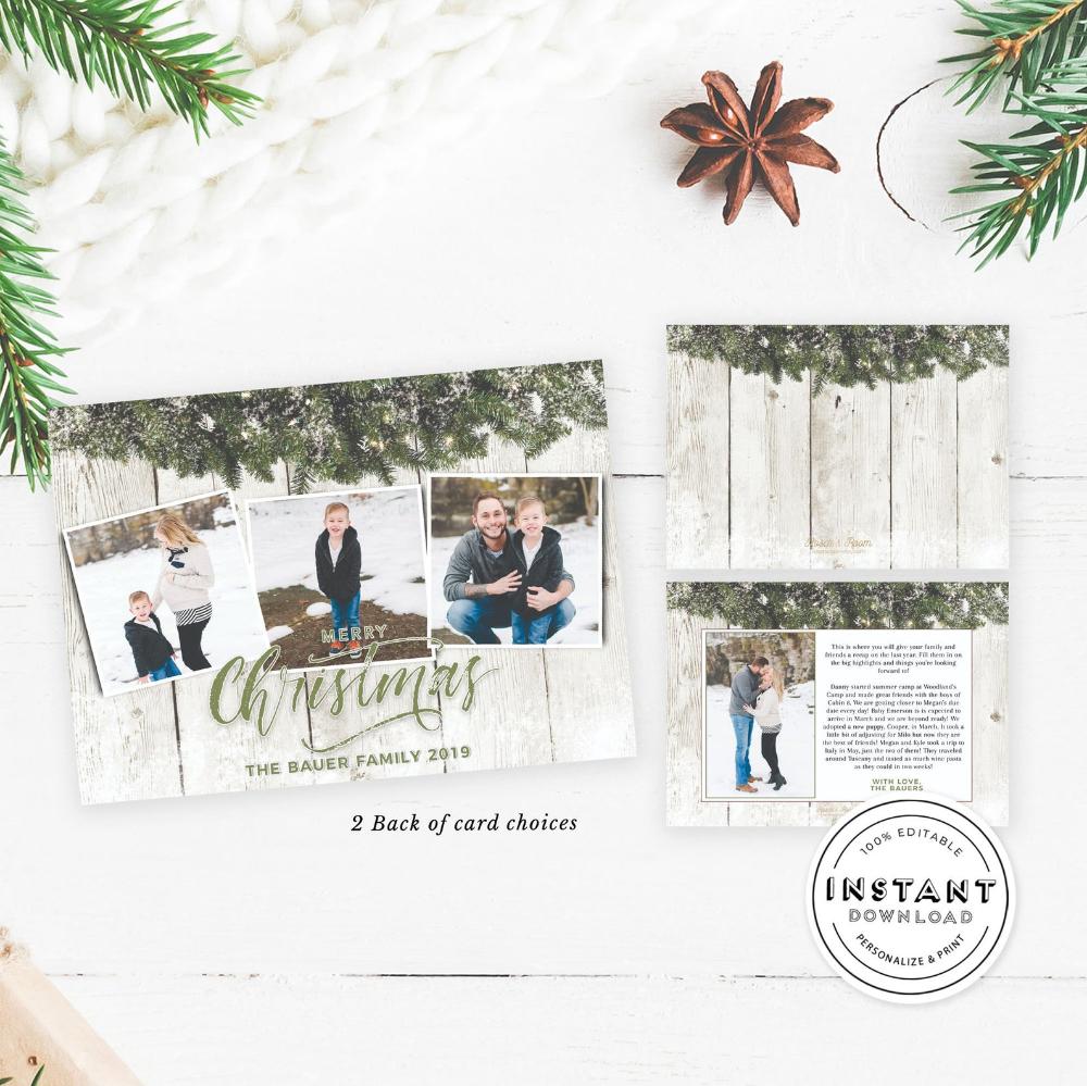 Photo Christmas Card Editable Template Rustic Shiplap Card Etsy Christmas Photo Cards Family Christmas Cards Christmas Cards