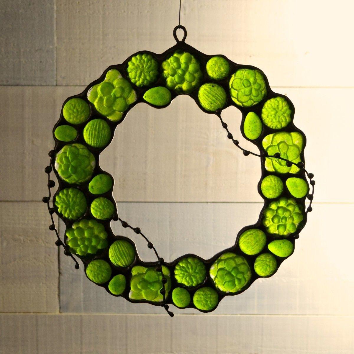 ガラスのリース[多肉植物]Lの画像1枚目