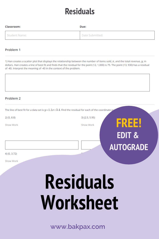 Free Residuals Algebra 1 Worksheet In 2020 Algebra Worksheets Algebra Free Algebra