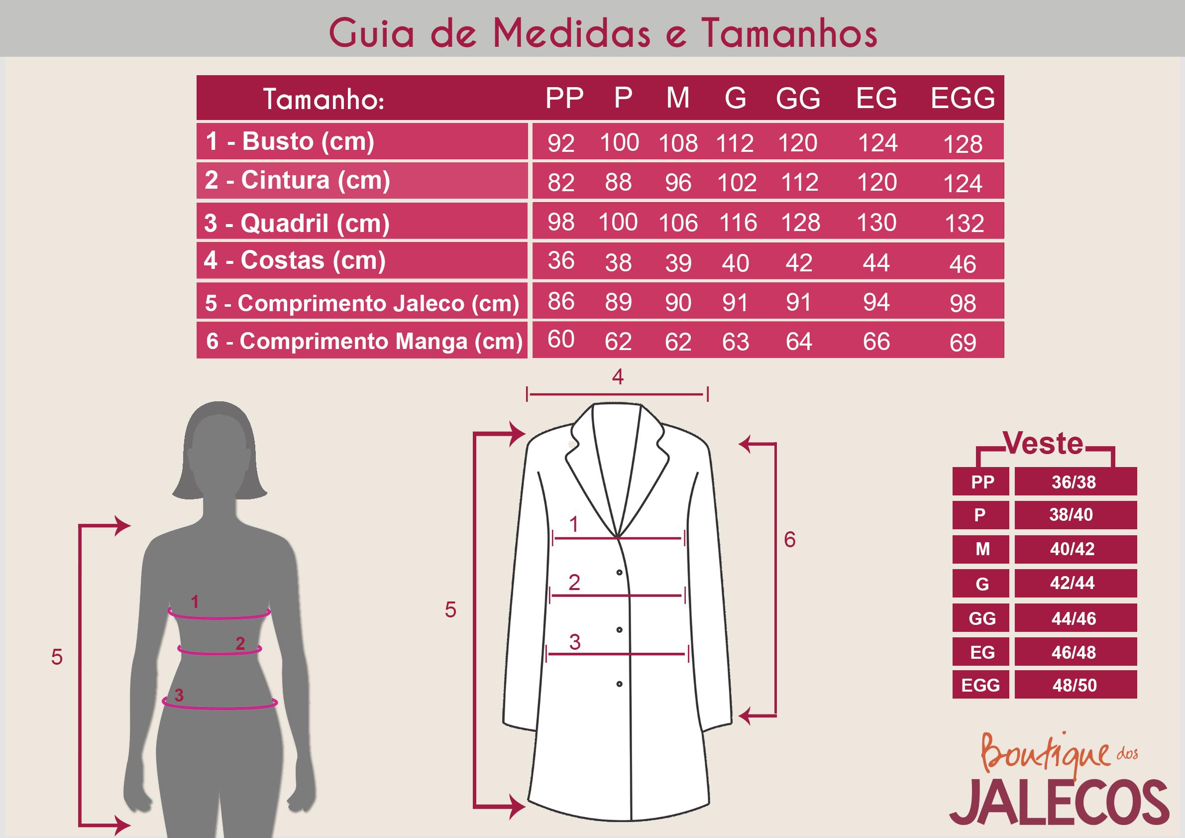 Tabela De Medidas Feminino Jaleco Feminino Modelo De Jaleco