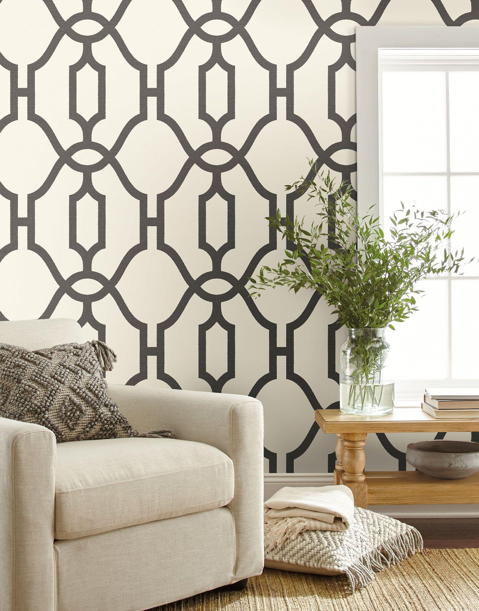 Magnolia Home Woven Trellis Wallpaper Charcoal & Cream