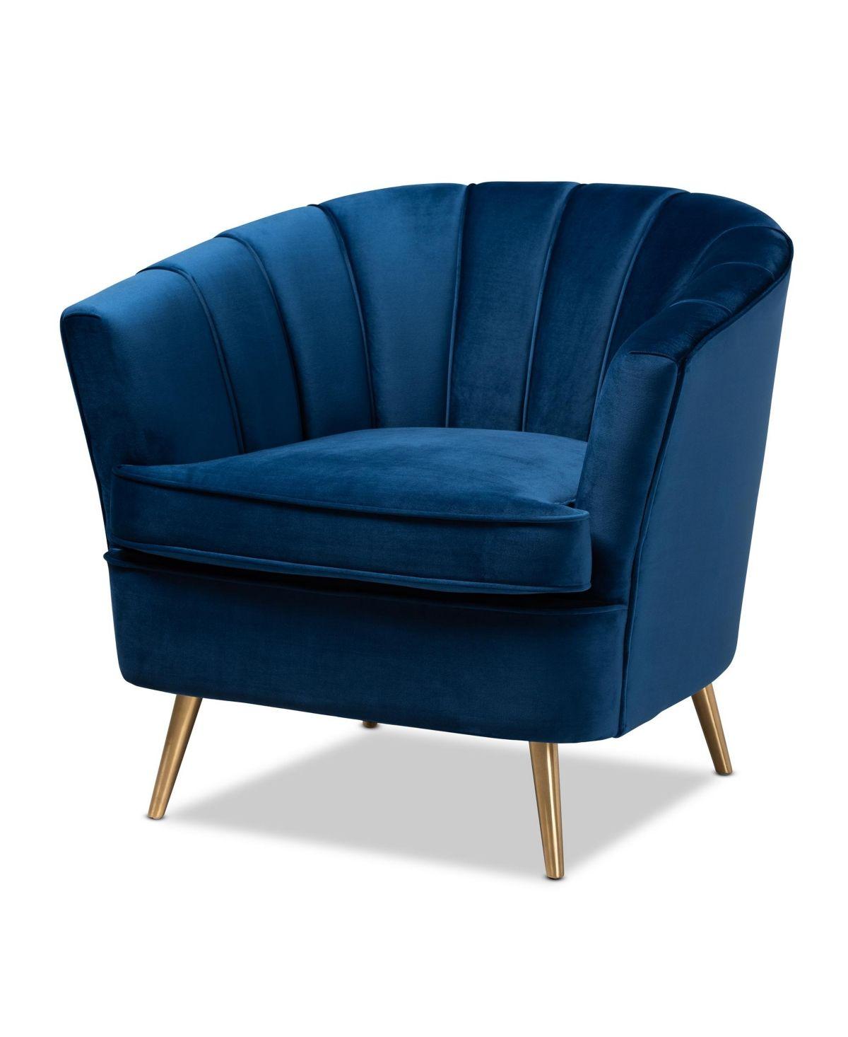 Emeline Accent Chair Quick Ship Navy Blue Blue Velvet Accent