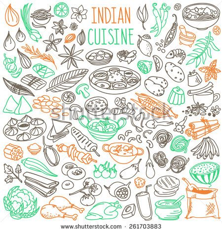 Set Of Doodles Hand Drawn Rough Simple Indian Cuisine Food