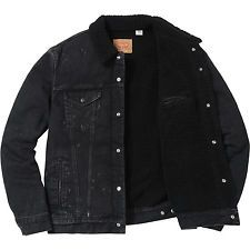 Supreme X Levi S Bleached Sherpa Trucker Jacket Size Large Black