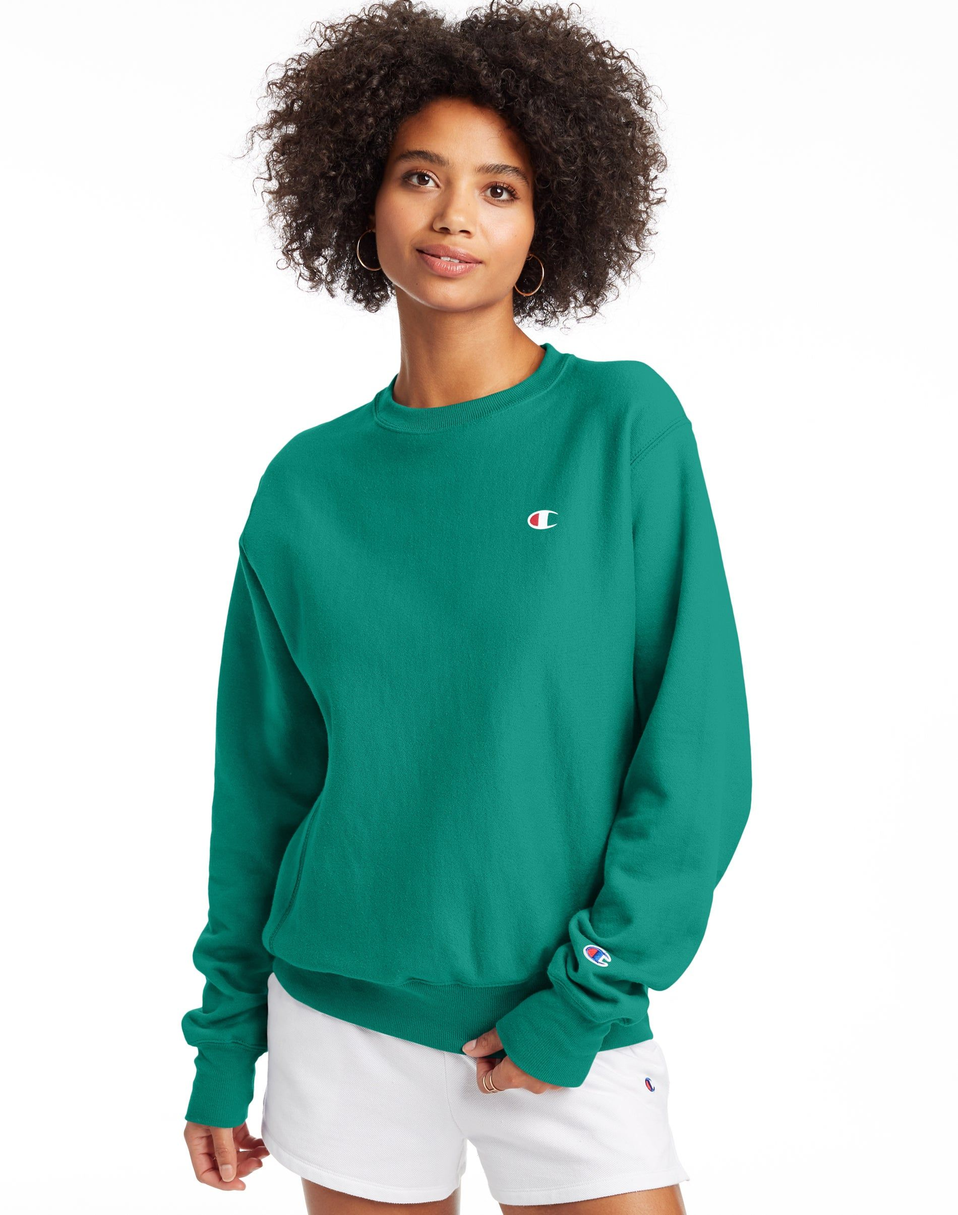 Women S Champion Life Reverse Weave Boyfriend Crew Capri Seas Green Long Sleeve Tshirt Men Boyfriend Fit Boyfriend [ 2410 x 1900 Pixel ]