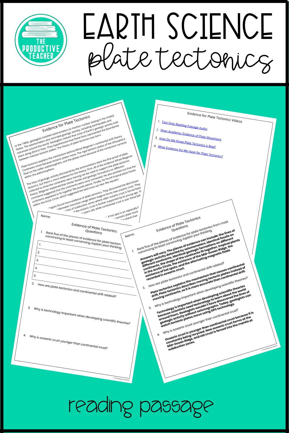 Evidence Of Plate Tectonic Science Reading Passage Passages Essay Prompt Conclusion