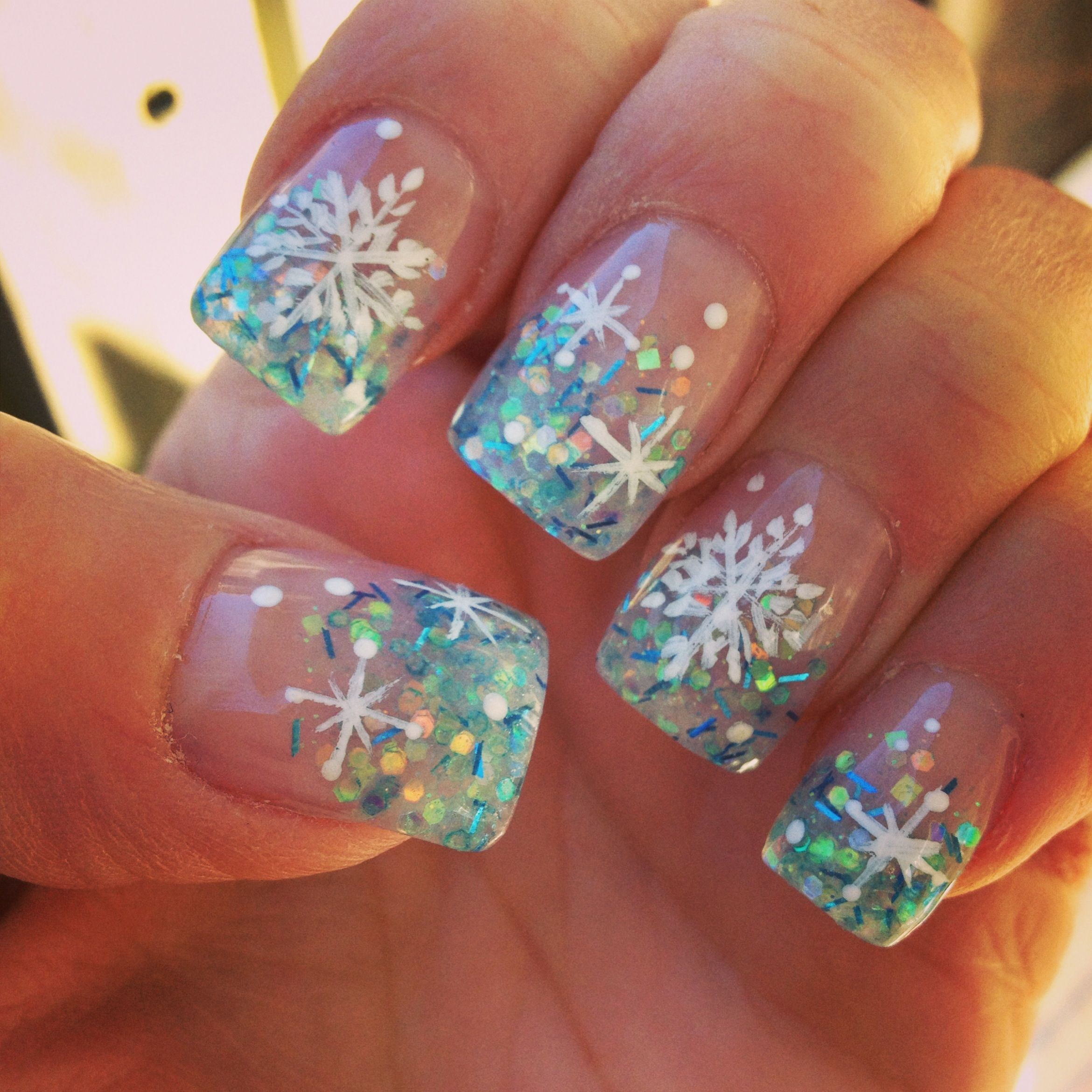 Best Christmas Gel Nails: Best Nail Lady Ever ! Hand Painted Snow Flakes @ Nails For