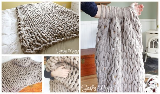 Diy Arm Knit Blanket Free Knitting Pattern In 45 Minutes Video