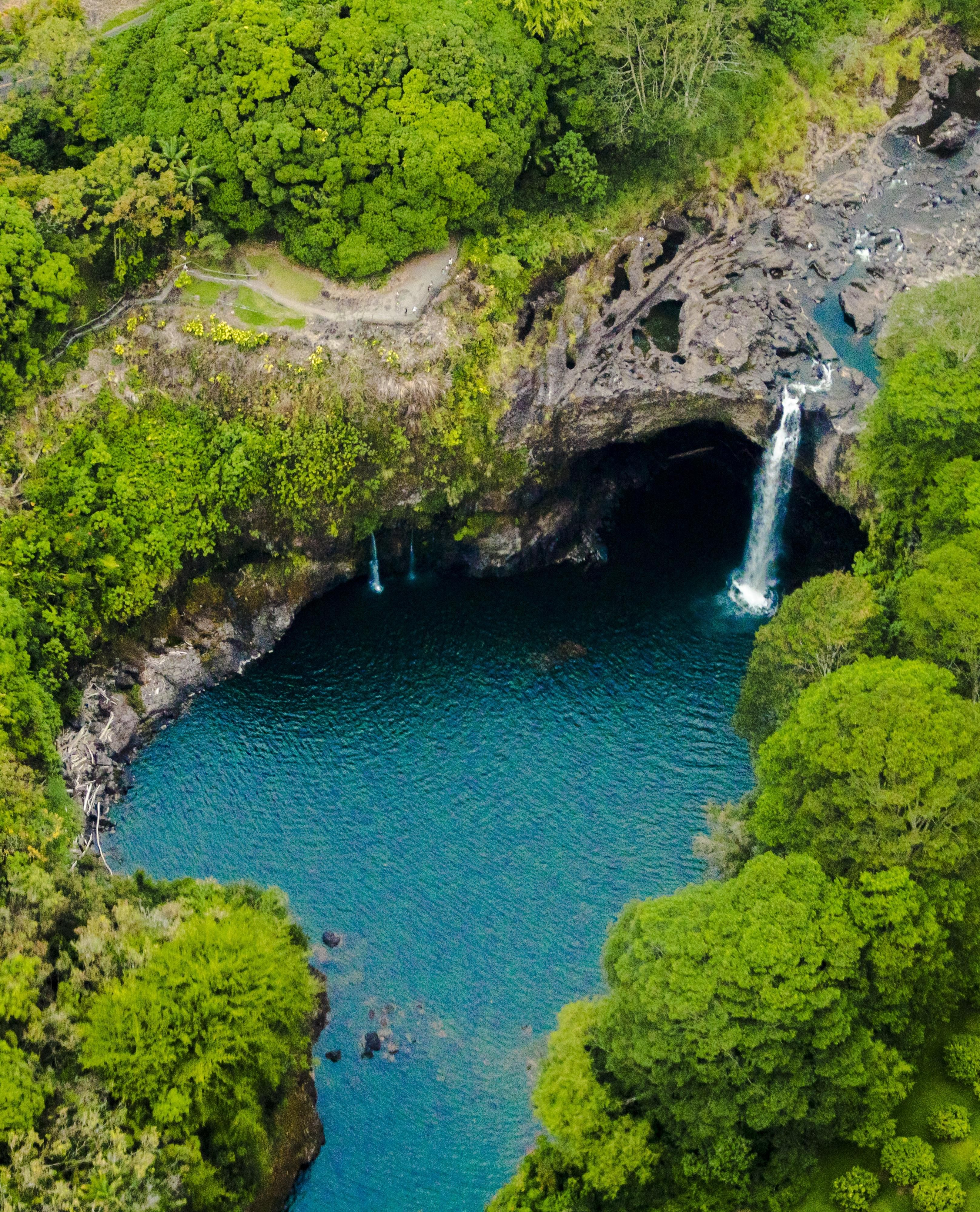 Rainbow falls in Hawaii from above [3233x4000] #nature and Science #rainbowfalls