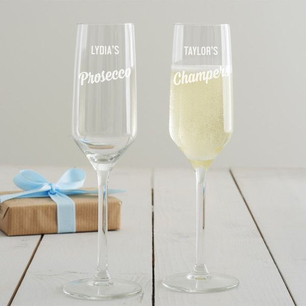 Personalised Engraved Glass Flute Champagne Glass Prosecco Wedding Birthday gift