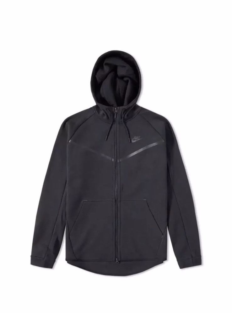NIKE TECH FLEECE WINDRUNNER FULL ZIP HOODIE JACKET BLACK