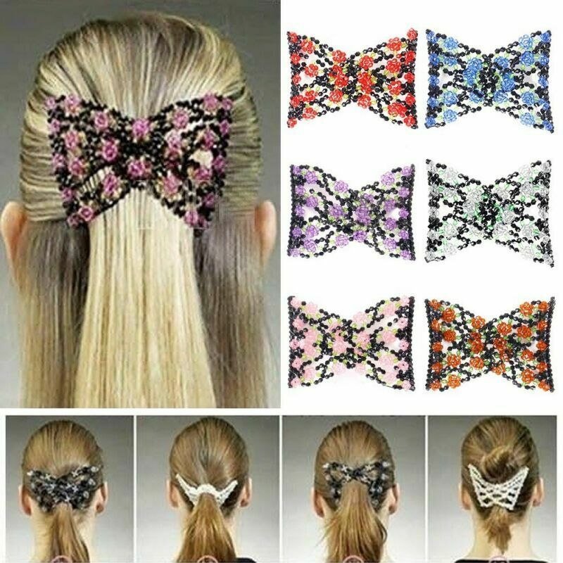 6pcs Double Hair Comb Magic Beads Elasticity Clip Stretchy Hair Combs Clips Beaded Hair Clips Hair Beads Hair Comb Clips