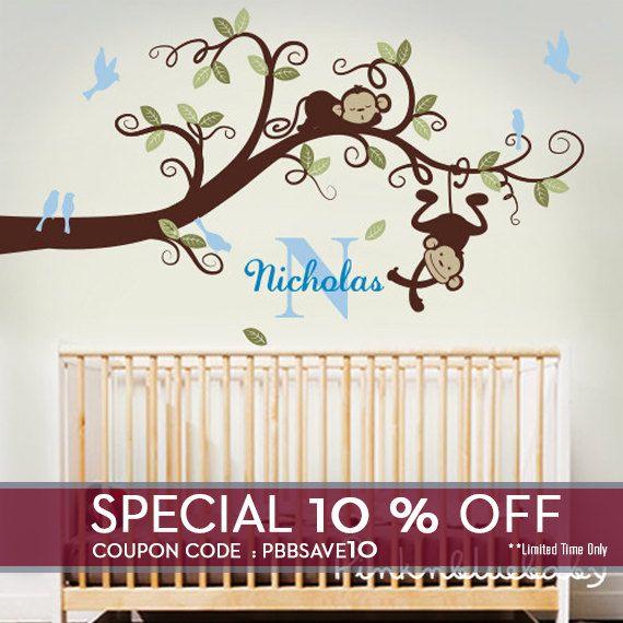 Baby Boy Nursery Decor Branch Tree Monkeys By Pinknbluebaby